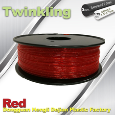 চীন Flexible 3D Printer Filament Twinkling 3mm 1.75mm Red Filament 1.3Kg / Roll সরবরাহকারী