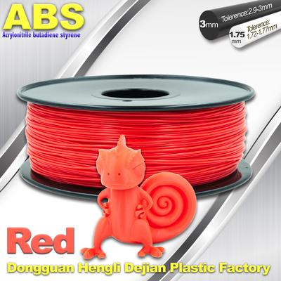 চীন ABS Custom 1kg / roll Fluorescent Red Filament Luminous 3D Printer Consumables সরবরাহকারী